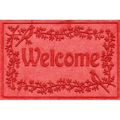 Aqua Shield Bird on a Branch Welcome Doormat Color: Solid Red
