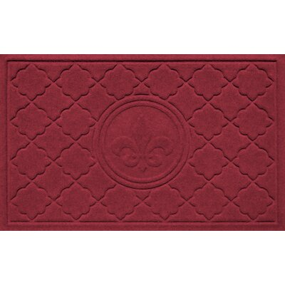 Aqua Shield Bombay Fleur de Lis Doormat Color: Red/Black