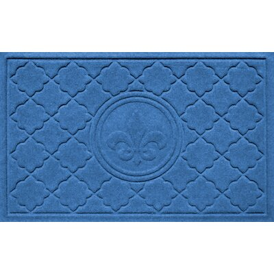 Aqua Shield Bombay Fleur de Lis Doormat Color: Medium Blue