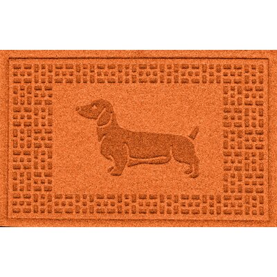 Conway Dachshund Doormat Color: Orange
