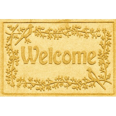 Aqua Shield Bird on a Branch Welcome Doormat Color: Yellow
