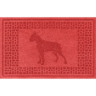 Aqua Shield Boxer Doormat Color: Solid Red
