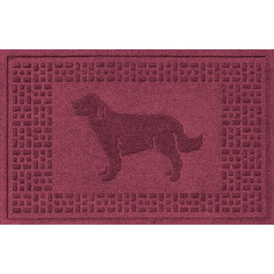 Conway Golden Retriever Doormat Color: Bordeaux