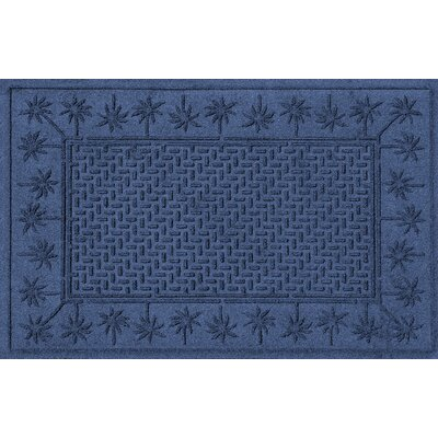 Aqua Shield Island Palms Doormat Color: Navy