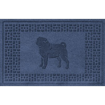 Conway Pug Doormat Color: Navy