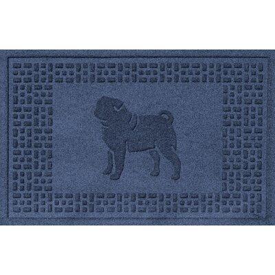Aqua Shield Pug Doormat Color: Navy