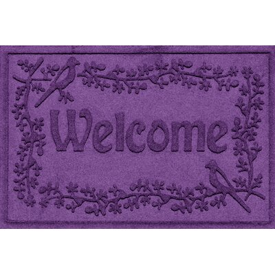 Aqua Shield Bird on a Branch Welcome Doormat Color: Purple