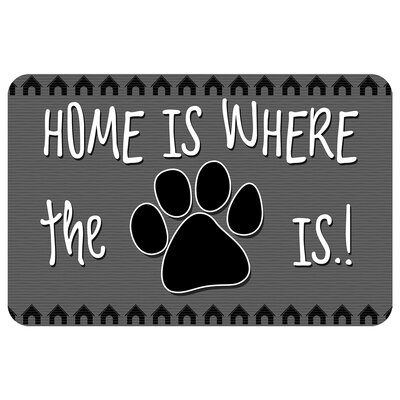 Home Is Where the Paw Is Pet Feeder Doormat Color: Grey
