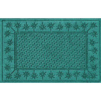 Aqua Shield Island Palms Doormat Color: Aquamarine