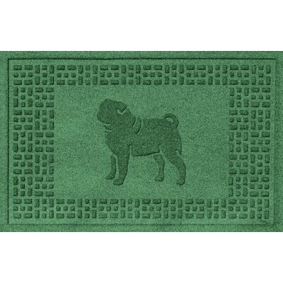 Aqua Shield Pug Doormat Color: Light Green