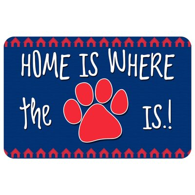 Home Is Where the Paw Is Pet Feeder Doormat Color: Blue