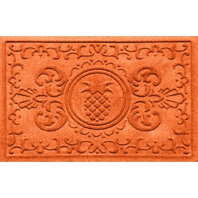 Aqua Shield Baroque Pineapple Doormat Color: Orange