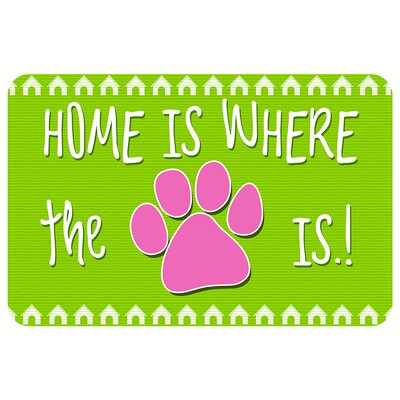 Home Is Where the Paw Is Pet Feeder Doormat Color: Lime