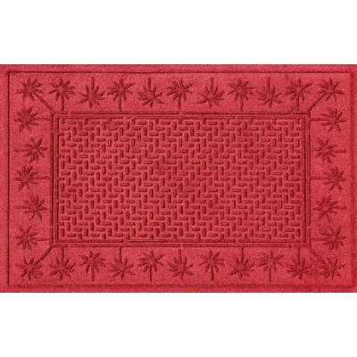 Aqua Shield Island Palms Doormat Color: Solid Red