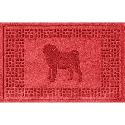 Aqua Shield Pug Doormat Color: Solid Red