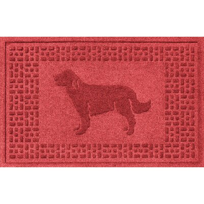 Conway Golden Retriever Doormat Color: Solid Red