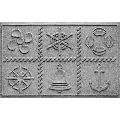 Aqua Shield Nautical Grid Doormat Color: Medium Gray