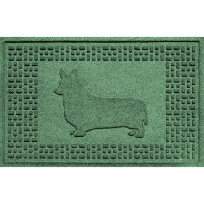Aqua Shield Corgi Doormat Color: Light Green