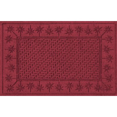 Aqua Shield Island Palms Doormat Color: Red/Black