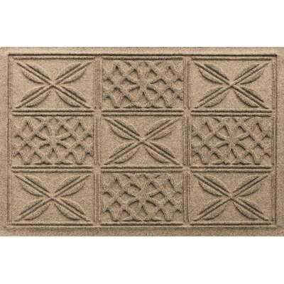 Aqua Shield Patchwork Grid Doormat Color: Camel