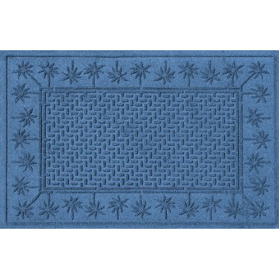 Aqua Shield Island Palms Doormat Color: Medium Blue