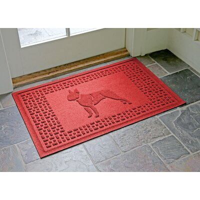Conway Boston Terrier Doormat Color: Solid Red
