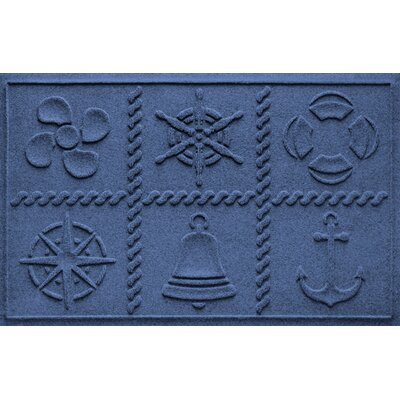 Aqua Shield Nautical Grid Doormat Color: Navy