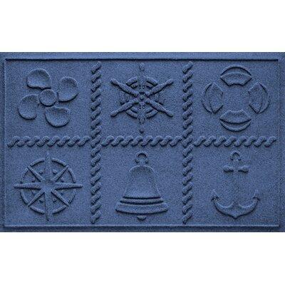Aqua Shield Nautical Grid Doormat Color: Navy