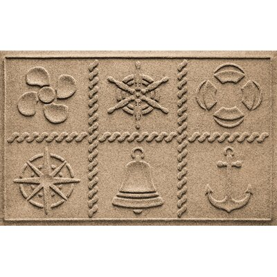 Aqua Shield Nautical Grid Doormat Color: Camel