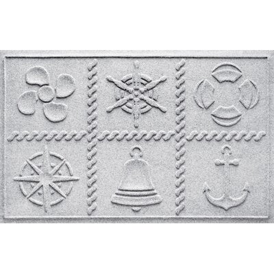 Aqua Shield Nautical Grid Doormat Color: White