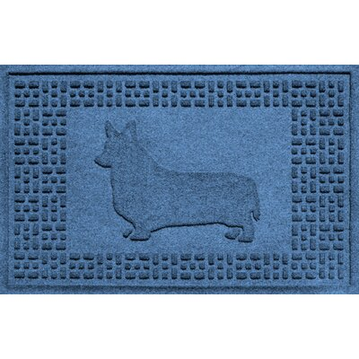 Conway Corgi Doormat Color: Medium Blue
