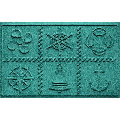 Aqua Shield Nautical Grid Doormat Color: Aquamarine