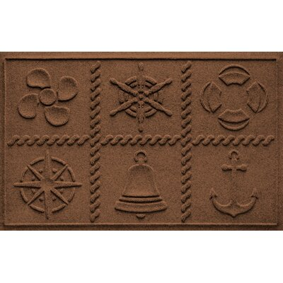 Aqua Shield Nautical Grid Doormat Color: Dark Brown