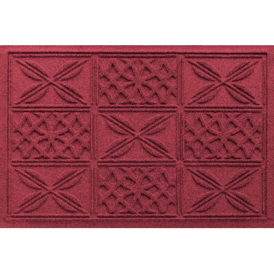 Aqua Shield Patchwork Grid Doormat Color: Red/Black