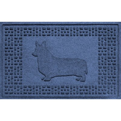 Conway Corgi Doormat Color: Navy