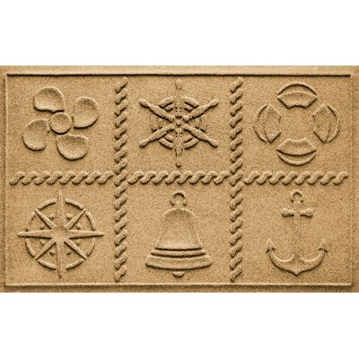 Aqua Shield Nautical Grid Doormat Color: Gold