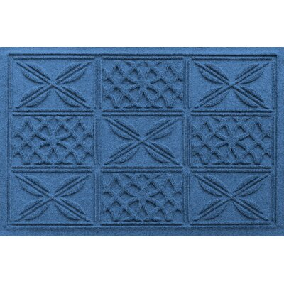 Aqua Shield Patchwork Grid Doormat Color: Medium Blue
