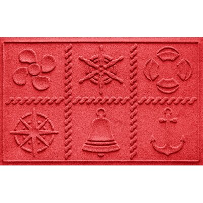 Aqua Shield Nautical Grid Doormat Color: Solid Red