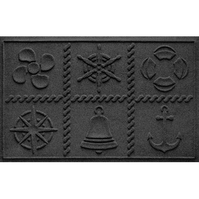 Aqua Shield Nautical Grid Doormat Color: Charcoal