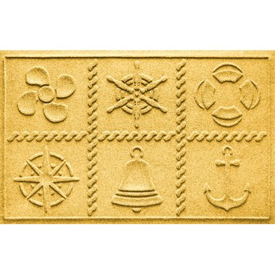 Aqua Shield Nautical Grid Doormat Color: Yellow