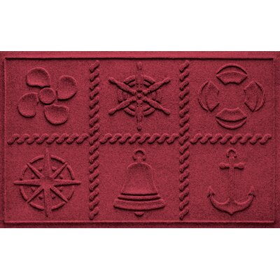 Aqua Shield Nautical Grid Doormat Color: Red/Black