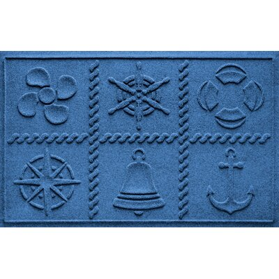 Aqua Shield Nautical Grid Doormat Color: Medium Blue