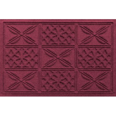 Aqua Shield Patchwork Grid Doormat Color: Bordeaux