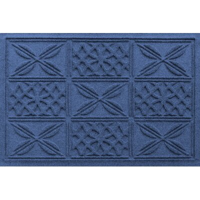 Aqua Shield Patchwork Grid Doormat Color: Navy