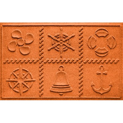 Aqua Shield Nautical Grid Doormat Color: Orange