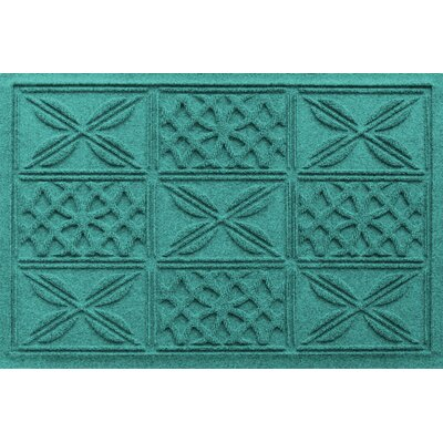 Aqua Shield Patchwork Grid Doormat Color: Aquamarine