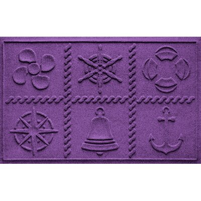 Aqua Shield Nautical Grid Doormat Color: Purple