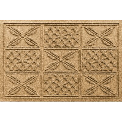 Aqua Shield Patchwork Grid Doormat Color: Gold