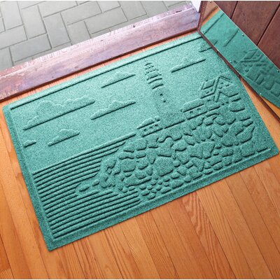 Aqua Shield Lighthouse Cove Doormat Color: Aquamarine