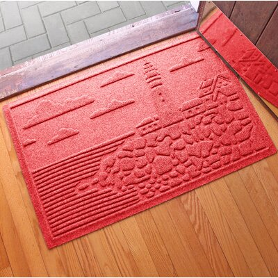 Aqua Shield Lighthouse Cove Doormat Color: Solid Red